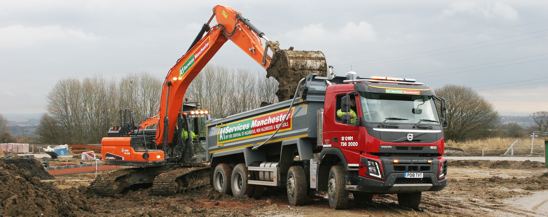 Excavator and new tipper truck